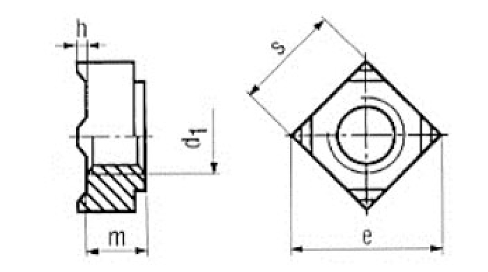 Vierkant-Schweissmutter, M12,  Güte 8, 1 Stk.