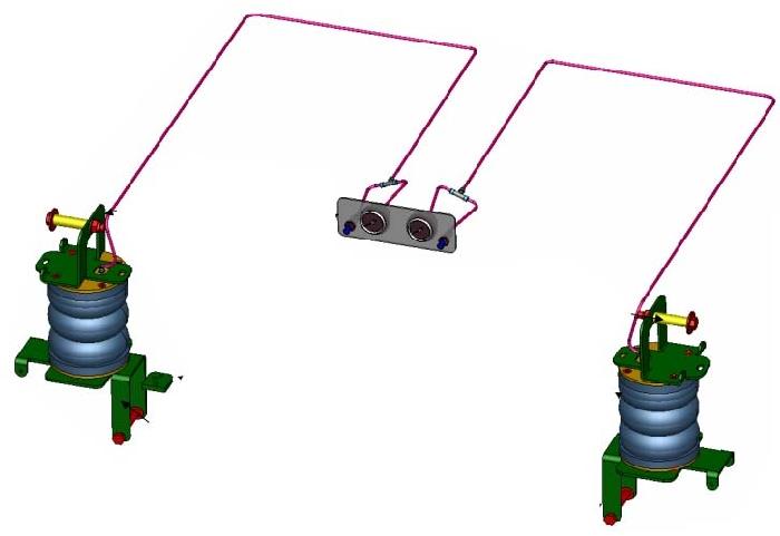Ford Transit, Frontantrieb, Baujahr 2006-2014, Achse 70x90mm, Pralldämpfer alle, Zusatz-Luftfederung 8 Zoll Zweikreis Doppelfaltenbalg- Anlage, syst. LF1B