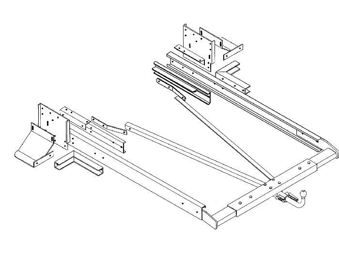 Anhängerkupplung Wohnmobil BOSStow Iveco Daily_ Bj. 1982-1999, Typ 01 hor. abnehmbar inklusiv Rahmenverlängerung 2000mm