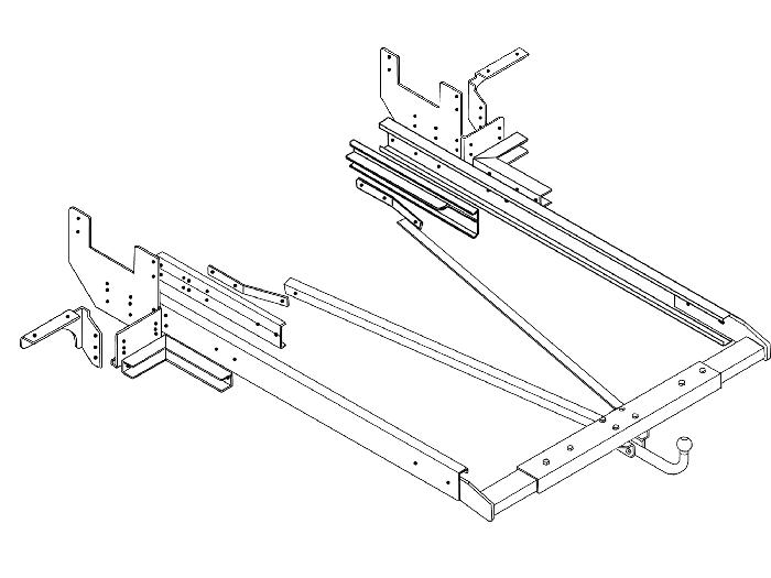 Anhängerkupplung Wohnmobil BOSStow Ford Transit Flachboden_ Bj.2014-, Typ 01- spez. V23, feststehend inklusiv Rahmenverlängerung 2000mm