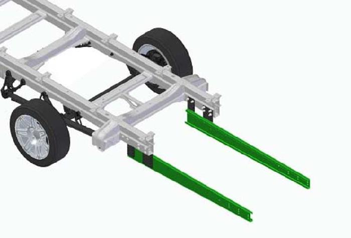 Rahmenverlängerung 1870mm Basis BOSStow Typ 01 VW Crafter 35, MAN TGE 35 Frontantrieb, Bj. 2018-