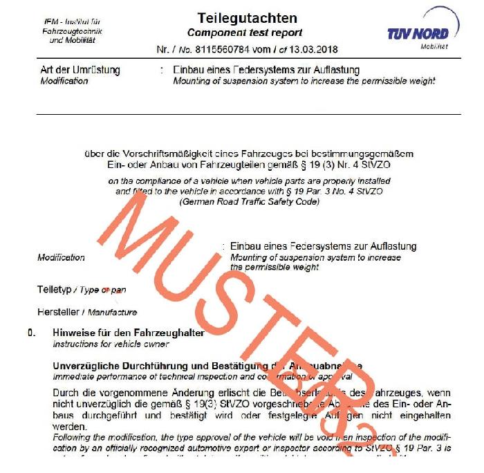 Auflastung Wohnmobil Opel Movano III (X62), Bj. 2010-2014 Frontantrieb (Typ VA/VB/MA/MB) CoilSpring f. HA
