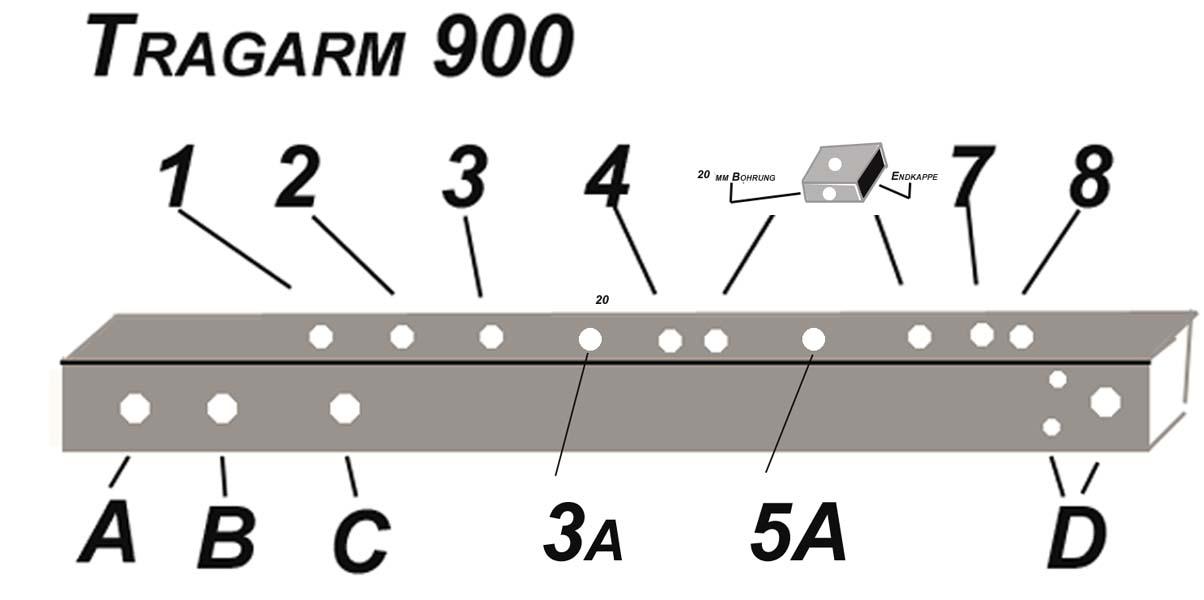 ALUTRANS prestige Tragarm 900mm für die Erweiterung Plattform XL