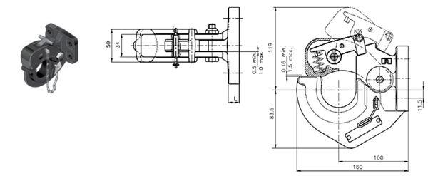 Hakenkupplung/ Natokupplung Rockinger 83x 56, 25kN