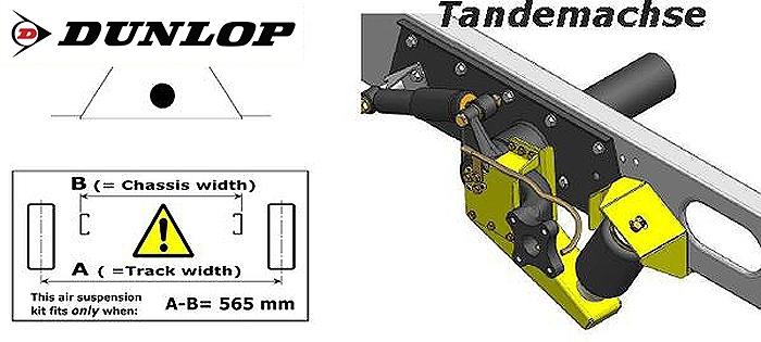 ALKO ( AL-KO )- Chassis- 2007-2011 Standard Radaufnahme- Tandemachse, spez. für auflaufendes Chassis, Zweikreis Zusatz-Luftfederanlage, syst. LF3