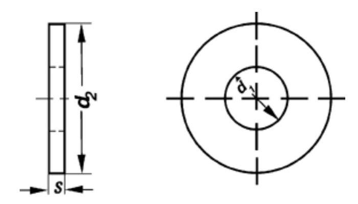 Unterlegscheibe Durchmesser 10, 5 mm x 28 mm x 4 mm, vz, 1 Stk.
