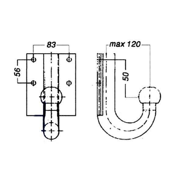 Kupplungskugel- 4- Loch 50mm unter, 17,2kN