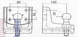 Kugelkopf- Flanschkugel-Kupplungskugel 4- Loch 30mm unter, 25,1kN