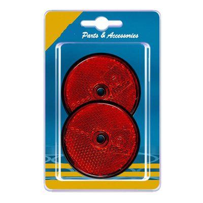 Rückstrahler rund 60 mm, zum Schrauben, rot, 2 Stück