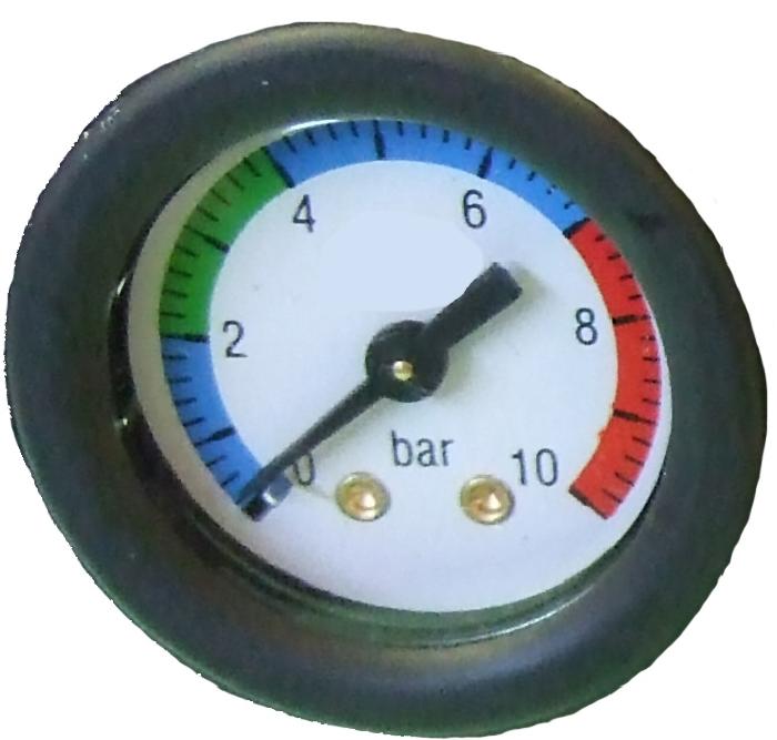 ( LF1) Druckluft Manometer, f. Schlauch, 6,00 mm, schwarz, Ersatzmanometer