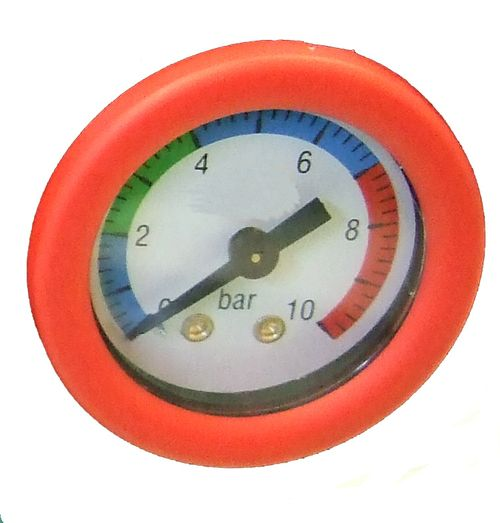 ( LF1) Druckluft Manometer, f. Schlauch, 6,00 mm, rot, Ersatzmanometer