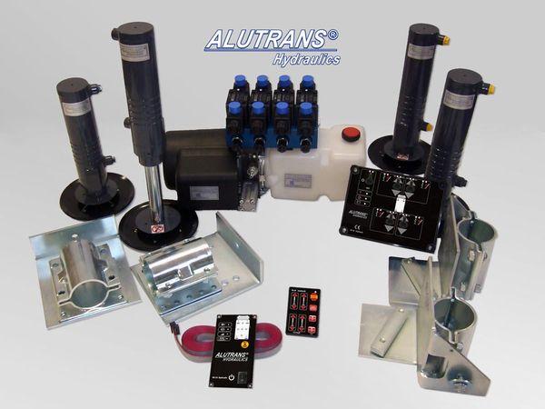 Hydraulische Hubstützen Anlage Ford Winnebago 2000-, ALUTRANS S30 Kl. 2 bis 6,5t zGG, 12V, autom. Niveauregulierung