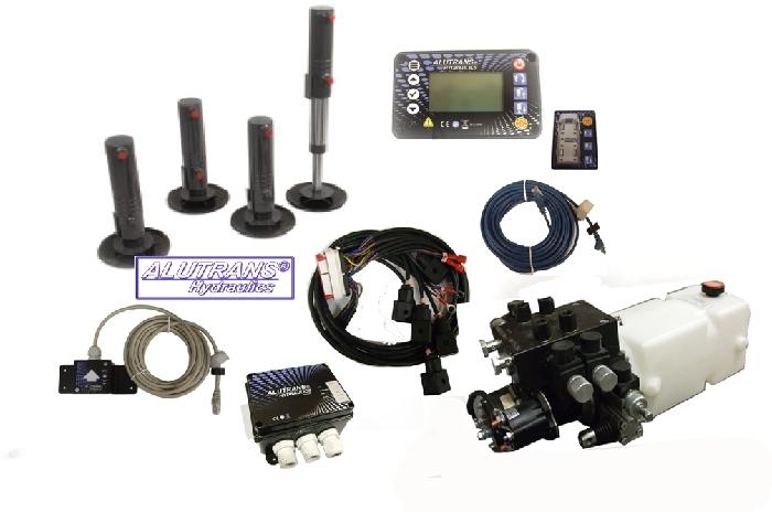 Hydraulische Hubstützen Anlage Fiat Ducato m. Blattfeder 2006-2013, ALUTRANS S3000 Kl. 1 bis 3,8t zGG, 12V, autom. Niveauregulierung