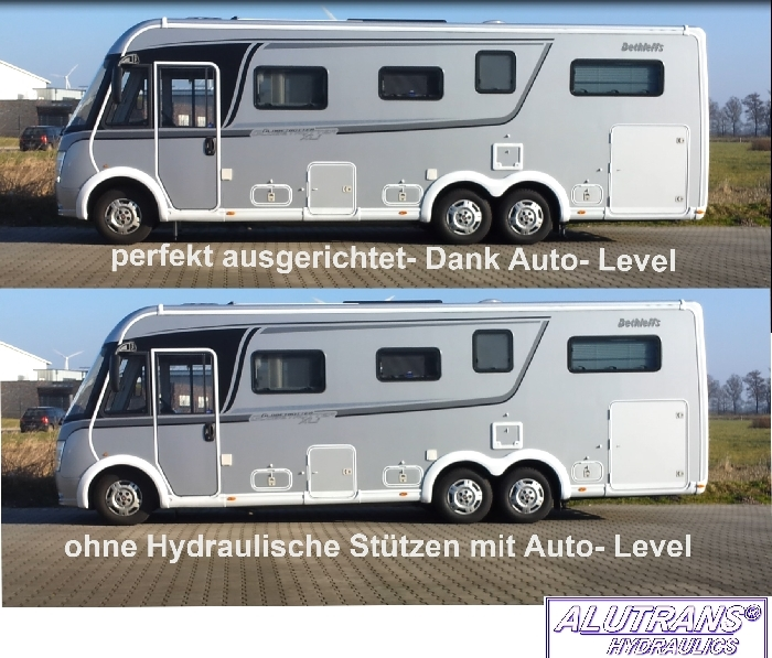 Hydraulische Hubstützen Anlage Fiat Ducato m. ALKO Chassis 2006-2013, ALUTRANS S3000 (HPi) Kl. 1 bis 3,8t zGG, 12V, autom. Niveauregulierung