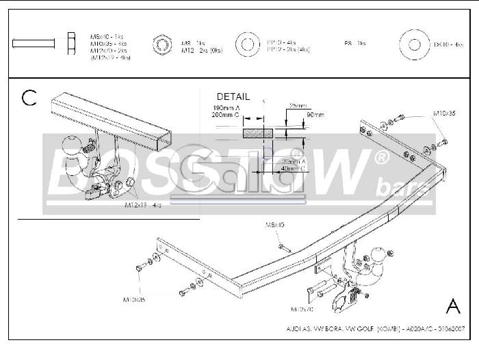 Anhängerkupplung für Audi-A3 - 1996-2003 nicht Quattro + S3 Ausf.:  feststehend