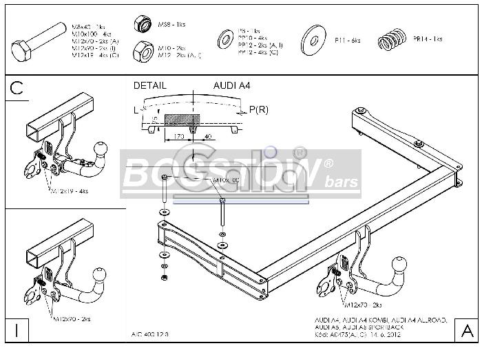 Anhängerkupplung für Audi-A4 Limousine - 2012-2015 nicht Quattro, nicht S4 Ausf.:  feststehend