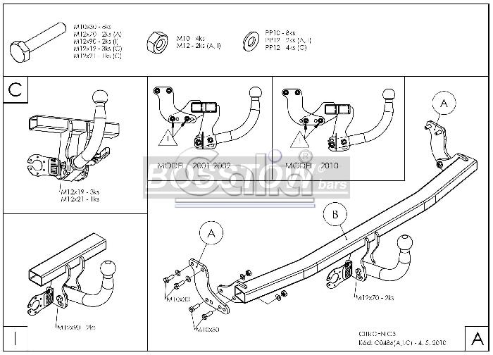Anhängerkupplung für Citroen-C3 - 2002-2005 Fließheck, auch X-TR Ausf.:  feststehend