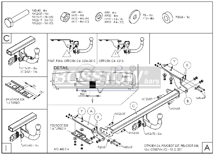 Anhängerkupplung für Citroen-C4 - 2004-2007 Coupe, nicht VTS 180 Ausf.:  feststehend
