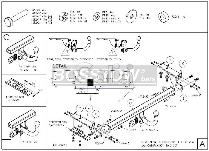 Anhängerkupplung für Citroen-C4 - 2007-2010 Coupe, nicht VTS 180 Ausf.:  feststehend
