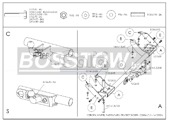Anhängerkupplung für Citroen-Jumper - 1994-2002 Kasten/ Bus/ Kombi 2 WD Ausf.:  feststehend