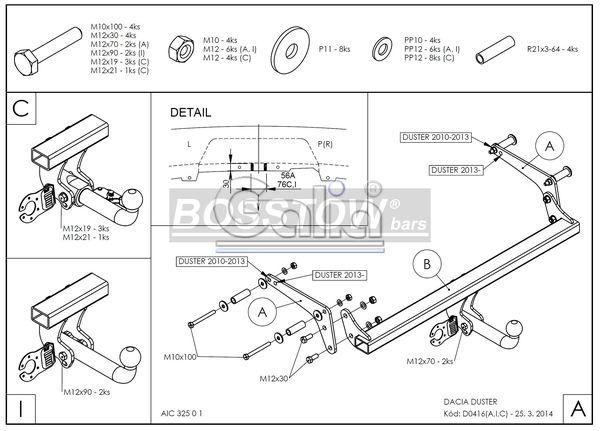 Anhängerkupplung für Dacia-Duster - 2010-2012 SUV 2WD und 4WD Ausf.:  feststehend
