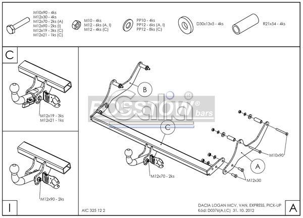Anhängerkupplung für Dacia-Logan - 2009-2012 Van Express Ausf.:  feststehend