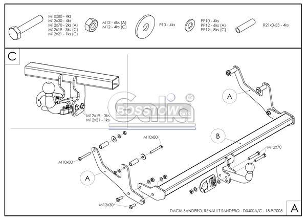 Anhängerkupplung für Dacia-Sandero - 2009-2012 Stepway, nicht LPG Ausf.:  feststehend