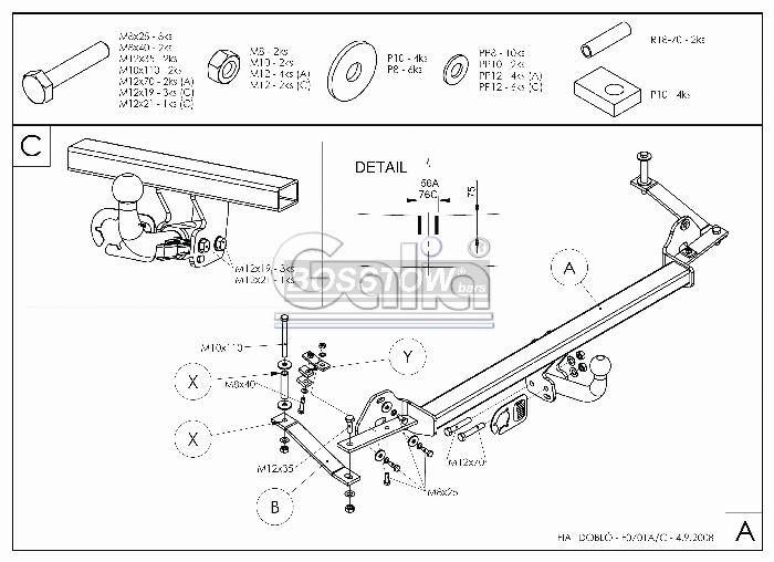 Anhängerkupplung für Fiat-Doblo - 2000-2005 I Maxi (223) Ausf.:  feststehend