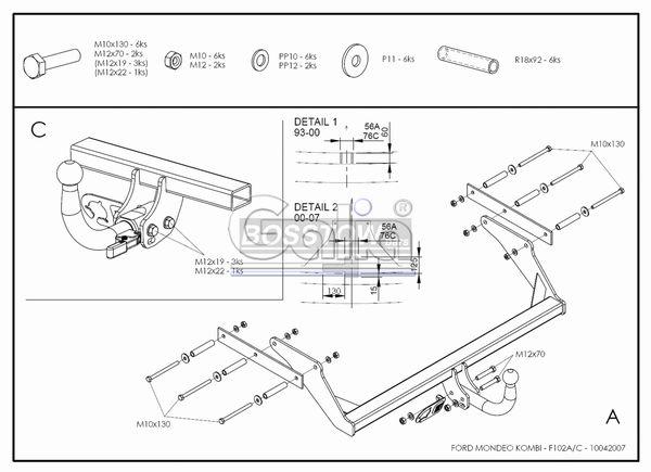 Anhängerkupplung Ford Mondeo Turnier, ohne Niveauregulierung, nicht, 4x4, nicht RS,ST, nicht Titanium, Baureihe 2000-2007  feststehend