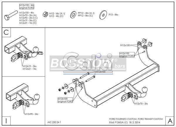 Anhängerkupplung für Ford-Tourneo Custom - 2012-2016 Ausf.:  feststehend