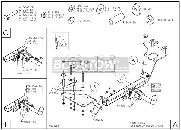 Anhängerkupplung für Honda-CR-V - 2002-2006 4X4 Ausf.:  feststehend
