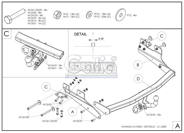 Anhängerkupplung für Hyundai-H-1, und Starex - 2007- (TQ) Kastenwagen mit Doppelflügeltür Ausf.:  feststehend