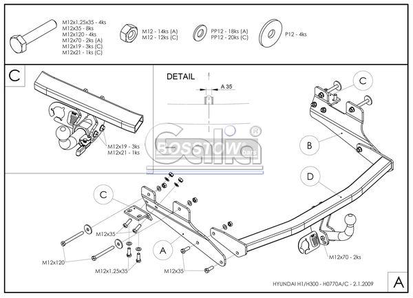 Anhängerkupplung für Hyundai-H-1, und Starex - 2007- (TQ) Kastenwagen mit Heckklappe Ausf.:  feststehend