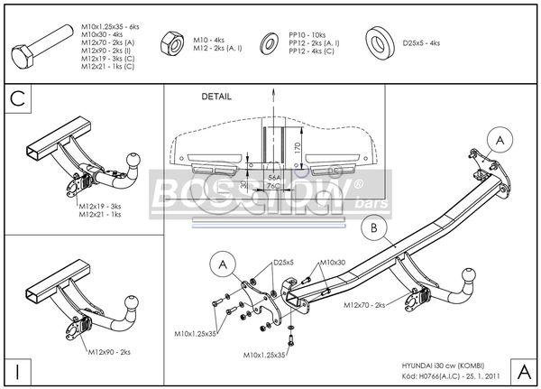 Anhängerkupplung für Hyundai-I30 - 2010-2011 Kombi Ausf.:  feststehend