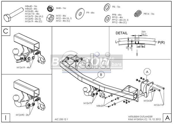 Anhängerkupplung für Mitsubishi-Outlander - 2012- III, 2WD u. 4WD, incl. PHEV Ausf.:  feststehend