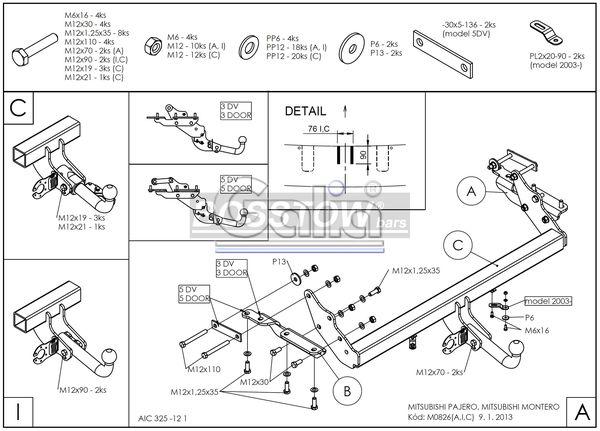 Anhängerkupplung für Mitsubishi-Pajero - 2000-2002 V60 (kurzer Radstand) Ausf.:  feststehend