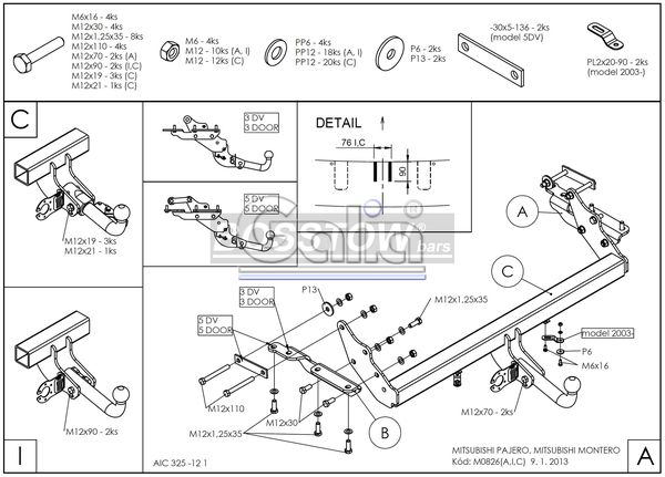 Anhängerkupplung für Mitsubishi-Pajero - 2002-2006 V60 (kurzer Radstand) Ausf.:  feststehend