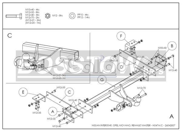 Anhängerkupplung für Nissan-Interstar - 2002-2004 Kasten, Bus, Kombi, nicht 5,5 t. Ausf.:  feststehend