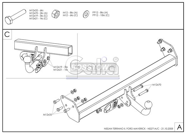 Anhängerkupplung für Nissan-Terrano - 1996-2000 II Ausf.:  feststehend