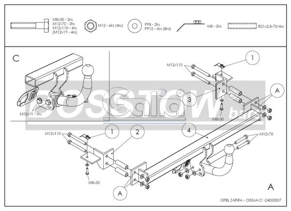 Anhängerkupplung für Opel-Zafira - 1998-2005 A, Van Ausf.:  feststehend