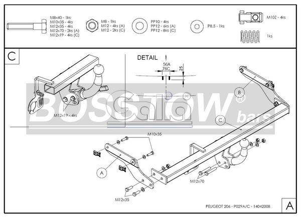 Anhängerkupplung für Peugeot-206+ - 2009- Base Ausf.:  feststehend