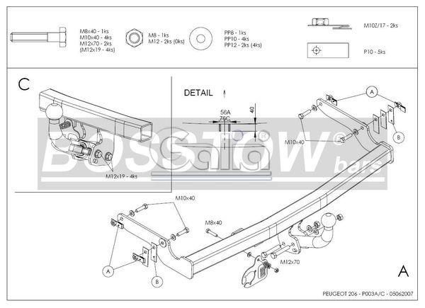 Anhängerkupplung für Peugeot-206 - 1998-2003 Base, (nicht GTI, GT, XS, 16V, 206CC) Ausf.:  feststehend
