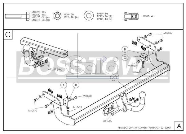 Anhängerkupplung für Peugeot-207 - 2007- SW- Kombi, nicht Outdoor Ausf.:  feststehend