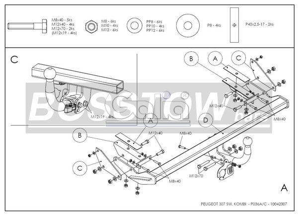 Anhängerkupplung für Peugeot-307 - 2002-2005 Kombi, inkl. 7-Sitzer Ausf.:  feststehend