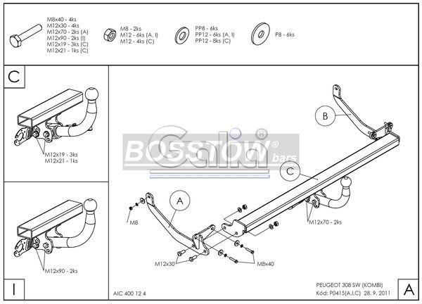 Anhängerkupplung für Peugeot-308 - 2008-2014 SW- Kombi Ausf.:  feststehend