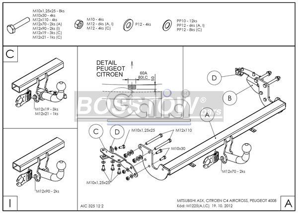 Anhängerkupplung für Peugeot-4008 - 2012- Ausf.:  feststehend