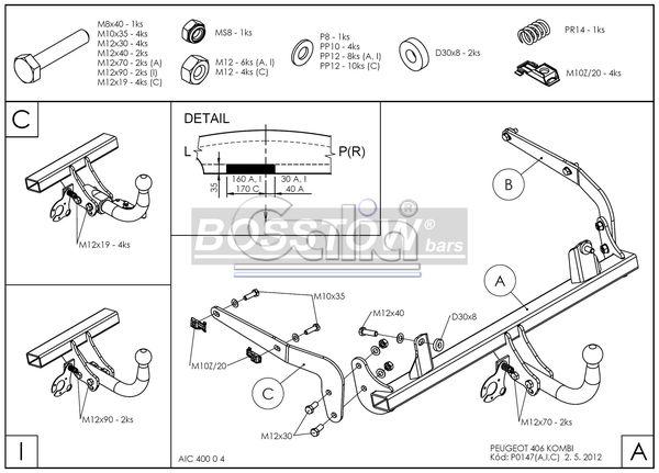 Anhängerkupplung für Peugeot-406 - 1999- Kombi Ausf.:  feststehend