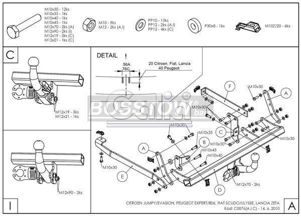 Anhängerkupplung für Peugeot-Expert - 1996-2007 Kasten/ Bus/ Kombi Ausf.:  feststehend