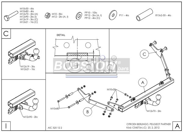 Anhängerkupplung für Peugeot-Partner - 2002-2008 Kasten/ Bus/ Kombi Ausf.:  feststehend