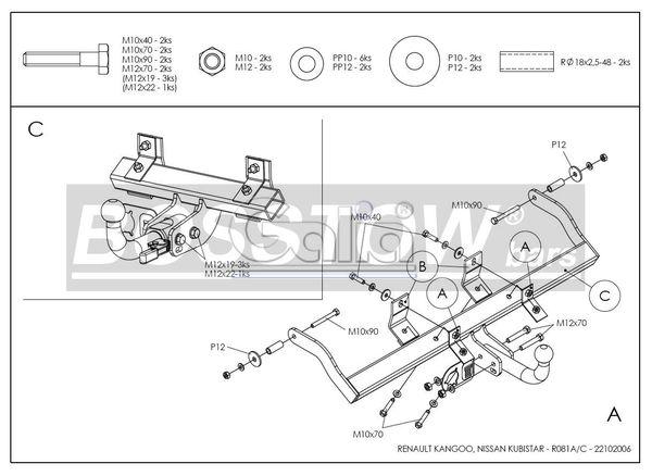 Anhängerkupplung für Renault-Kangoo I - 1997-1998 nicht 4x4 Ausf.:  feststehend